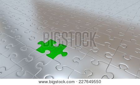 3d Illustration Of Just Only One Green Puzzle Piece Inside All Other Silver Pieces
