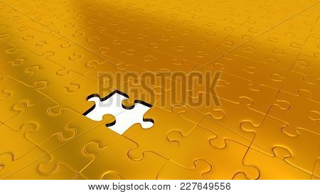 3d Illustration Of Only One Missing Puzzle Piece Into All Other Gold Puzzle Pieces