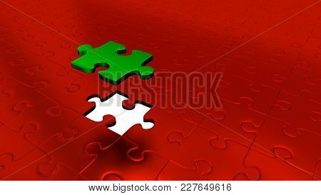 3d Illustration Of Only One Green Puzzle Piece Above All Other Red Puzzle Pieces With One Missing Pi