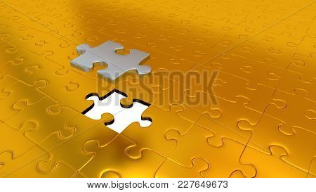 3d Illustration Of Only One Silver Puzzle Piece Above All Other Gold Puzzle Pieces With One Missing