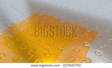 3d Illustration Of Some Silver Puzzle Pieces On All Other The Floor Becoming Gold Pieces