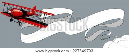 Retro red airplane with a big white ribbon banner in the sky. Vintage engraving and pop art stylized drawing