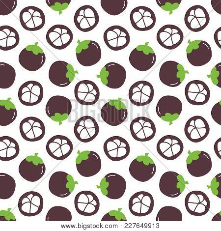 Doodle, Hand Drawn Purple Mangosteen, Trendy Superfood Seamless Pattern Background.