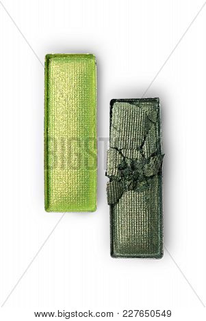 Rectangle Shiny Green Crushed Eyeshadow For Makeup As Sample Of Cosmetic Product
