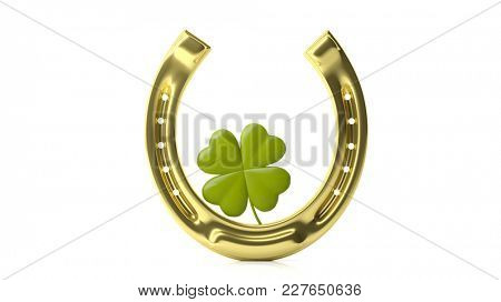 St Patrick's concept. Four leaf clover and golden horse shoe isolated on white background. 3d illustration
