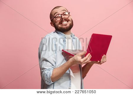 Businessman Hugging Laptop. Love To Computer Concept. Attractive Male Half-length Front Portrait, Tr
