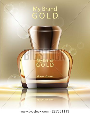 Perfume Realistic Gold Bottle Vector. Product Packaging Label Design