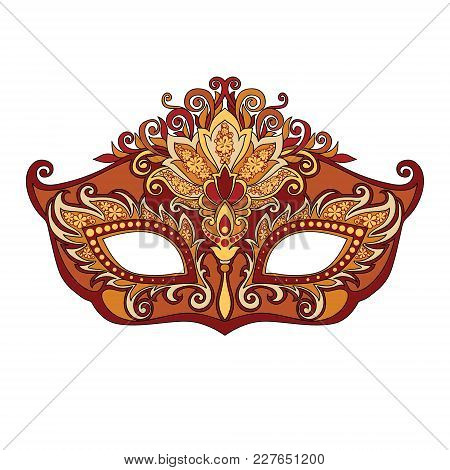 Vector Illustration Of Masked Golden Mask For Theater And Festivals, Colorful Bright Venetian Mask D