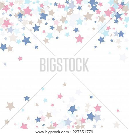 Multicolored Falling Stars Of Confetti. Luxurious Background In Calm Tones.rose, Light Blue, Light B