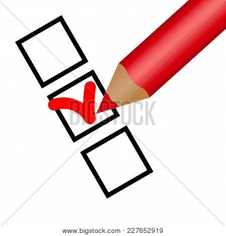 Check List. Pencil Check Option. Isolated On White Background. Vector Illustration