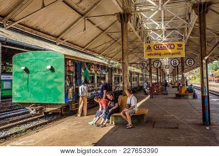 Yangon, Myanmar - January 19, 2016 :  Train Station In Yangon And Waiting Passengers. Yangon Circula
