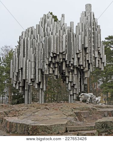 Helsinki, Finland - April 4, 2017: Monument To Finnish Composer Jan Sibelius