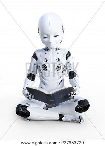 3d Rendering Of Robotic Child Sitting On The Floor And Reading A Book. White Background.