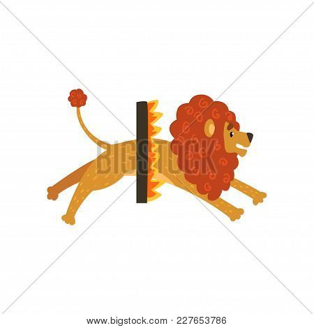 Cute Circus Lion Cartoon Character Jumping Through A Ring Of Fire Vector Illustration Isolated On A