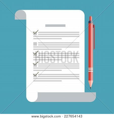 Test Vector Icon Isolated. Concept Exam, Survey, Testing. School Test Icon On Flat Style. School Exa