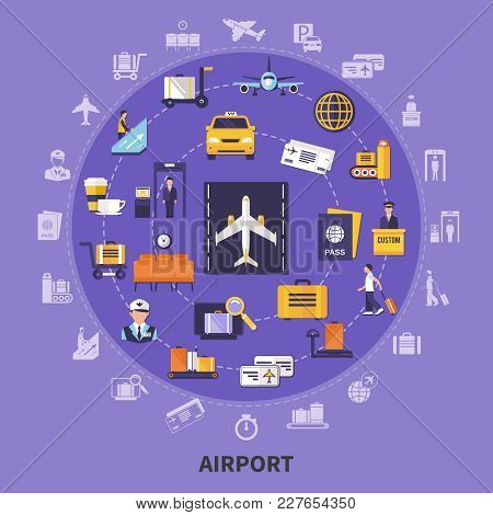 Colorful Flat Concept With Various Airport Icons Planes Waiting Room Steward Runway Passengers Custo