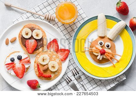 Colorful Breakfast Meal For Kids. Funny Easter Food Art, Top View. Concept Of Healthy Eating, Baby F