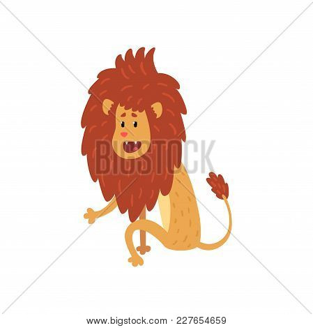 Cute Lion Cub Cartoon Character Sitting On The Floor Vector Illustration Isolated On A White Backgro