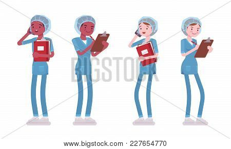 Male And Female Nurse Standing. Young Workers In Hospital Uniform With Phone, Care-giver With Clipbo