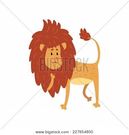 Cute Funny Lion Cub Cartoon Character Vector Illustration Isolated On A White Background.