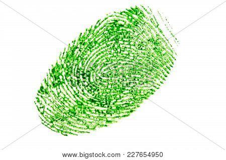 Green Fingerprint Isolated On A White Background.