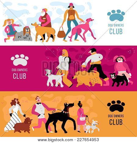 Club Of Dog Owners Horizontal Banners Set With Adults And Kids, Different Canine Breeds Isolated Vec