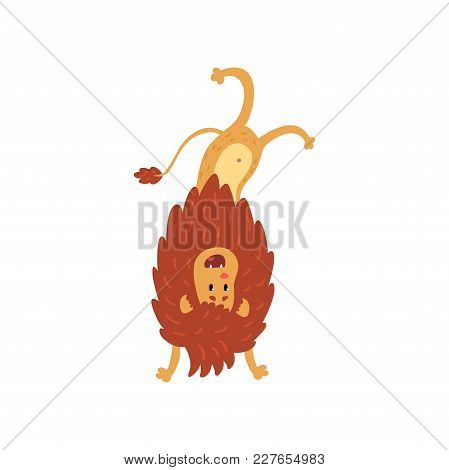 Cute Lion Cub Cartoon Character Standing Upside Down Vector Illustration Isolated On A White Backgro