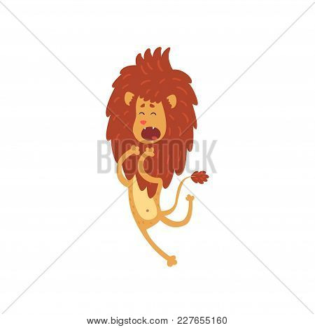 Cute Funny Lion Cub Cartoon Character Jumping Vector Illustration Isolated On A White Background.
