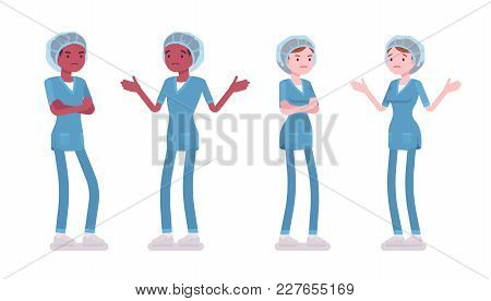 Male, Female Nurse In Negative Emotions. Young Workers In Hospital Uniform, Tired And Exhausted At W