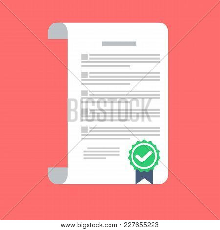 Signed Contract Vector Icon In A Flat Style Isolated On A Colored Background. Conclusion Of A Contra