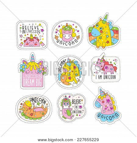 Lovely Unicorn Patches Set, Trendy Colorful Unicorn Stickers In Different Actions Vector Illustratio
