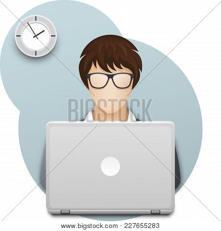 Business Woman Or Office Worker In Glasses With Laptop. Young Woman With Short Haircut, Dressed In G