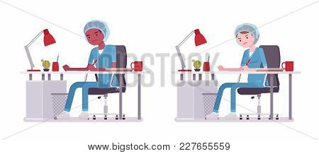 Male, Female Nurse Doing Paperwork. Young Workers In Hospital Uniform, Tired And Exhausted At Work.