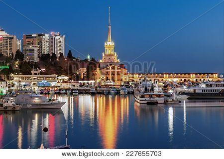 Sochi, Russia - February 10, 2018: Evening Illumination Of The Sea Port.