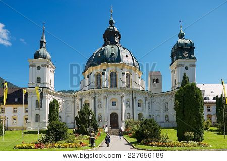 Ettal, Germany - September 02, 2010: Unidentified People Visit Ettal Abbey, A Benedictine Monastery
