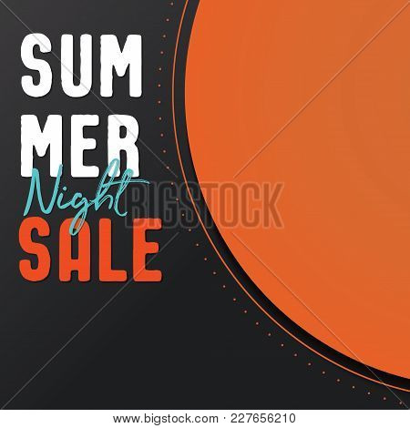 Summer Night Sale Banner Vector Heading Design  For Banner Or Poster. Discounts Concept.