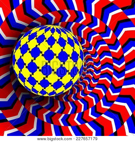 Illusion Vector. Optical 3d Art. Rotation Dynamic Optical Effect. Psychedelic Swirl Illusion. Decept