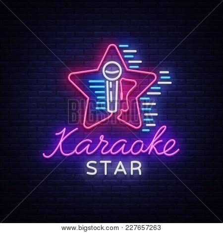 Karaoke Star Vector. Neon Sign, Luminous Logo, Symbol, Light Banner. Advertising Bright Night Karaok