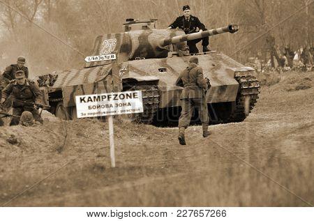 Liberation of Kiev from nazis reenactment.German tank . At November 7,2013 in Kiev, Ukraine