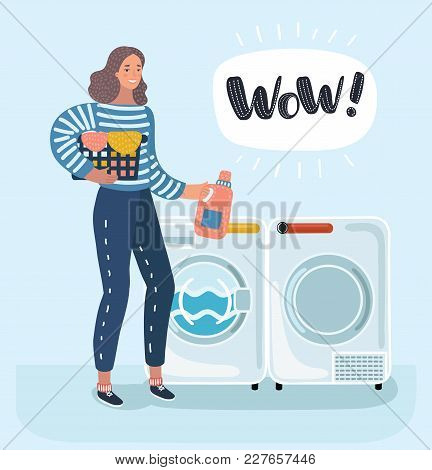 Vector Cartoon Funny Illustration Of Woman Housewife Washes Clothes In The Washing Machine. Washer A