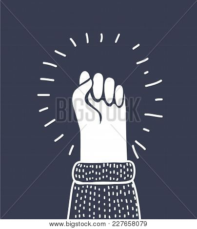 Vector Cartoon Illustration Of Fist Vector Icon Isolated On White Background, Hand With Shaking Fist