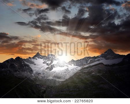 sunrise on the Ober Gabelhorn - Swiss Alps poster