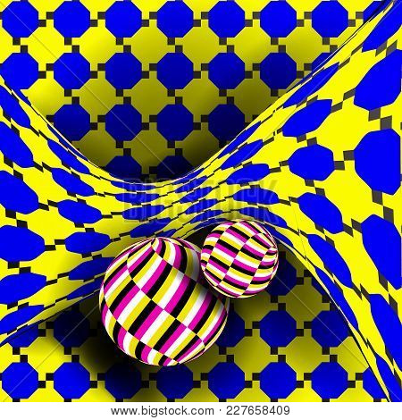 Illusion Vector. Optical 3d Art. Rotation Dynamic Optical Effect. Psychedelic Swirl Illusion. Fantas