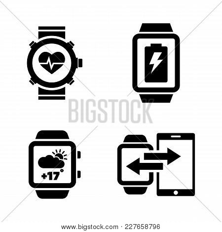 Smartwatch. Simple Related Vector Icons Set For Video, Mobile Apps, Web Sites, Print Projects And Yo
