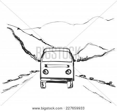 Travel Bus Hand Drawn Illustration. Road Near Mountains
