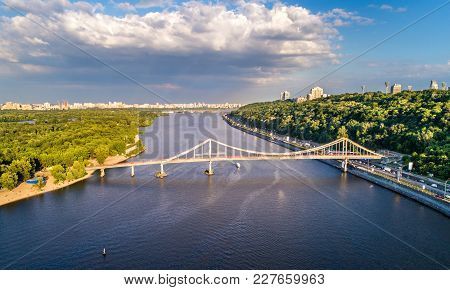 Aerial View Of The Dnieper River With The Pedestrian Bridge In Kiev, Ukraine
