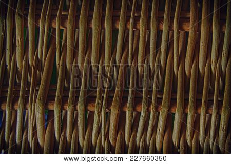 Wicker Bamboo, Rattan Fence, Background, Texture For Web Site Or Mobile Devices.