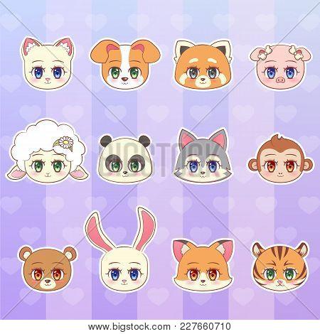 Tiger, Monkey, Bear, Panda, Red, Sheep, Dog, Puppy, Cat, Kitten, Lamb, Pig, Wolf, Fox Rabbit Sticker