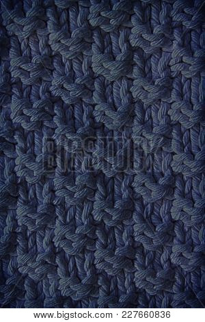 The Texture Of A Knitted Woolen Fabric Blue. Background For Web Site Or Mobile Devices