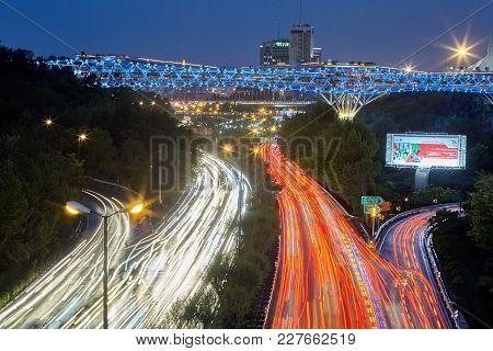 Tehran, Iran - April 29, 2017: Tabiat Bridge With Evening Illuminated Crossed Modares Highway At Twi